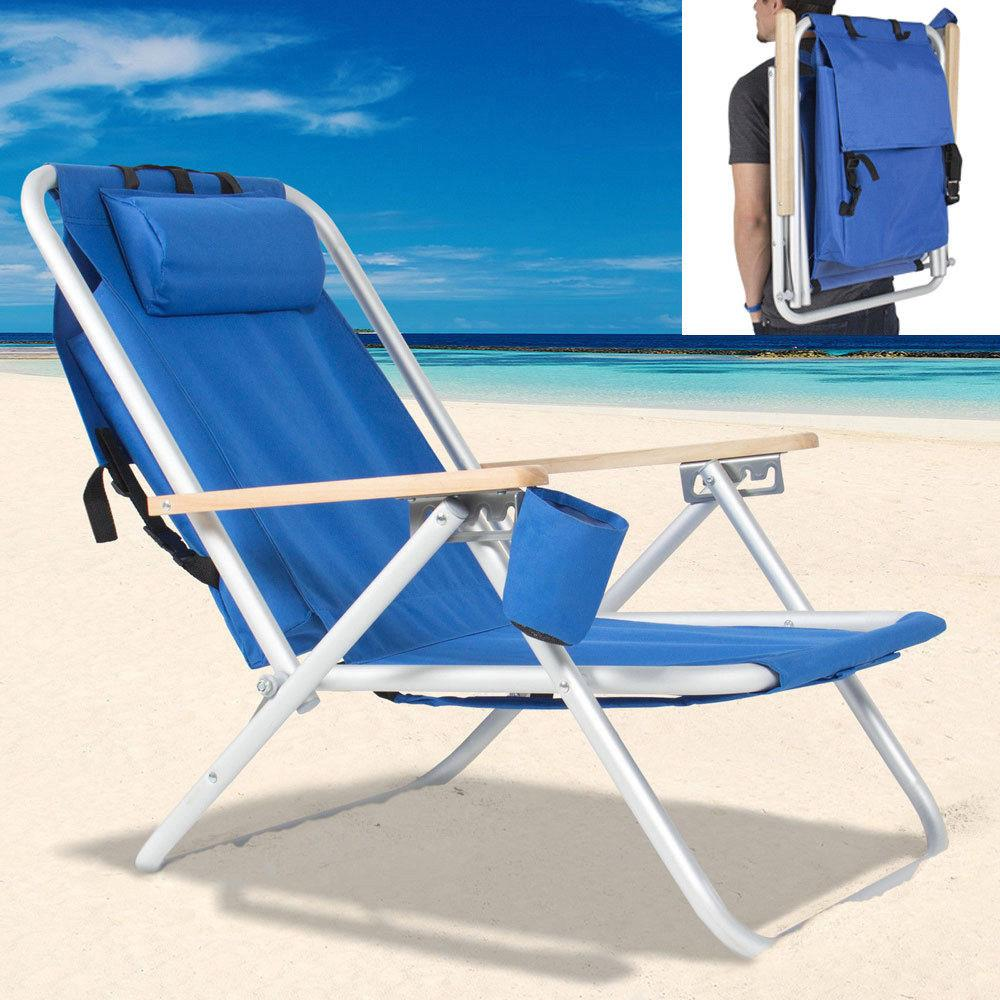 Details about Backpack Beach Chair Folding Portable Chair Blue Solid  Camping Hiking Fishing
